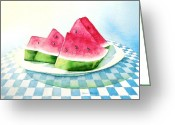 Watermelon Painting Greeting Cards - Slice of Summer Greeting Card by Sandra Neumann Wilderman