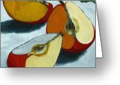 Red Greeting Cards - Sliced Apple still life oil painting Greeting Card by Linda Apple