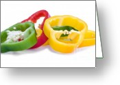 Gloss Greeting Cards - Sliced Colorful Peppers Greeting Card by Meirion Matthias