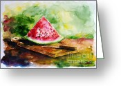 Watermelon Painting Greeting Cards - Sliced Watermelon Greeting Card by Zaira Dzhaubaeva