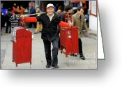 Street Vendor Greeting Cards - Slices of Chinese Life Greeting Card by Christine Till