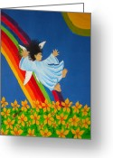 Animation Greeting Cards - Sliding Down Rainbow Greeting Card by Pamela Allegretto