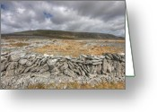 Kinvarra Greeting Cards - Slieve Carran Greeting Card by John Quinn