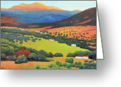 Green Field Painting Greeting Cards - Sliice Of Last Light Greeting Card by Gary Coleman
