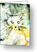 Kitty Digital Art Greeting Cards - Slim Greeting Card by Ann Powell