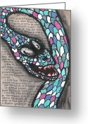 Blue Blood Greeting Cards - Slithering Snake Greeting Card by Jera Sky