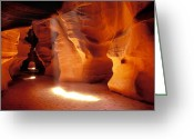 Caves Greeting Cards - Slot canyon warm light Greeting Card by Garry Gay