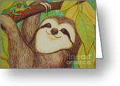 Tree Drawings Greeting Cards - Sloth and frog Greeting Card by Nick Gustafson