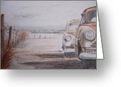 Rusted Cars Drawings Greeting Cards - Slow Demise Greeting Card by Terence John Cleary