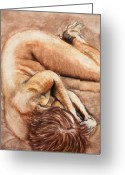 Nudes Drawings Greeting Cards - Slumber Pose Greeting Card by Kerryn Madsen-Pietsch