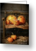 October Greeting Cards - Small and big pumpkins on an old bench  Greeting Card by Sandra Cunningham