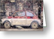 White Digital Art Greeting Cards - Small Car 3 Greeting Card by Scott Norris