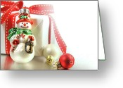 Scarf Greeting Cards - Small christmas ornament with gift Greeting Card by Sandra Cunningham