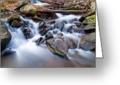 Shelton Greeting Cards - Small falls Greeting Card by David Freuthal
