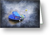 Boats Greeting Cards - Small Fisherman Boat Greeting Card by Svetlana Sewell