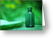 Poison Greeting Cards - Small Green Poison Bottle Greeting Card by Rebecca Sherman