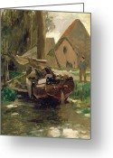 Mit Greeting Cards - Small Harbor with a Boat  Greeting Card by Thomas Ludwig Herbst