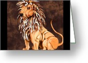 Nature Sculpture Greeting Cards - Small Lion Greeting Card by Thomas Thomas