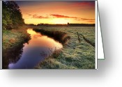 Denmark Greeting Cards - Small River At Sunrise Greeting Card by H-L-Andersen