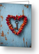 Single Rose Greeting Cards - Small rose heart wreath with key Greeting Card by Garry Gay