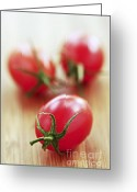 Wooden Board Greeting Cards - Small tomatoes Greeting Card by Elena Elisseeva