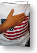 Pledge Of Allegiance Greeting Cards - Small Tribute Greeting Card by Joy Tudor