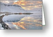 Snowcapped Greeting Cards - Small Village In Region Of Westfjords In Iceland Greeting Card by Jtp