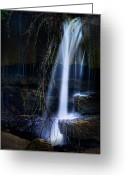 Splashing Greeting Cards - Small Waterfall Greeting Card by Tom Mc Nemar