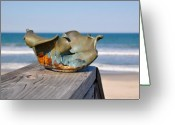 Ocean. Beach Ceramics Greeting Cards - Small wave bowl Greeting Card by Gibbs Baum