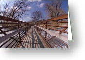 Tom Biegalski Greeting Cards - Small Winter Bridge Greeting Card by Tom Biegalski
