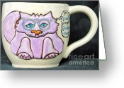 Thrown Ceramics Greeting Cards - Smart Kitty Mug Greeting Card by Joyce Jackson