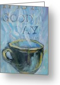 Tilly Strauss Greeting Cards - Smell the Coffee Greeting Card by Tilly Strauss