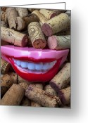 Laughing Greeting Cards - Smile among wine corks Greeting Card by Garry Gay