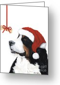 Sleeping Dog Greeting Cards - Smile its Christmas Greeting Card by Liane Weyers