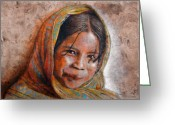 Girl Portrait Greeting Cards - Smile Greeting Card by Juan Jose Espinoza