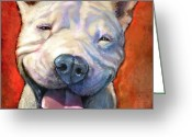 Pit Bull Greeting Cards - Smile Greeting Card by Sean ODaniels