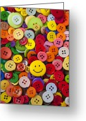 Face. Colorful Greeting Cards - Smiley face button Greeting Card by Garry Gay