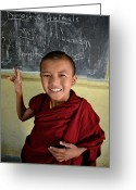 Tibetan Buddhism Greeting Cards - Smiley Monk Greeting Card by Valerie Rosen