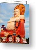Ancient Architecture Greeting Cards - smiling Buddha Greeting Card by Adrian Evans