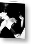 Silk Greeting Cards - Smoke and Seduction - Self Portrait Greeting Card by Jaeda DeWalt