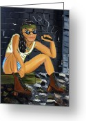 Tomboy Greeting Cards - Smoke Break  Greeting Card by Victoria  Johns