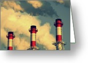 Environmental Damage Greeting Cards - Smoke Coming From Big Chimneys, Moscow Greeting Card by Fedor Vilner