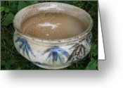 Light Ceramics Greeting Cards - Smoke-Fired Bamboo Leaves Bowl Greeting Card by Julia Van Dine