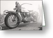 Motorcycle Racing Greeting Cards - Smoke Out Greeting Card by Marley Holman