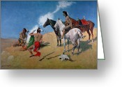Pioneers Greeting Cards - Smoke Signals Greeting Card by Frederic Remington