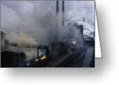 "\""steel Mill\\\"" Greeting Cards - Smoke Spews From The Coke-production Greeting Card by James L. Stanfield"