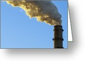Pollute Greeting Cards - Smokestack Billowing Smoke Greeting Card by Skip Nall