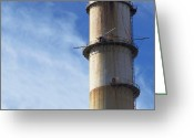 Pollute Greeting Cards - Smokestack Greeting Card by Skip Nall