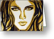 Hair Drawing Greeting Cards - Smokey Eyes woman portrait Greeting Card by Patricia Awapara