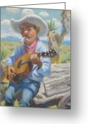 Playing The Guitar Greeting Cards - Smokin Guitar Man Greeting Card by Texas Tim Webb